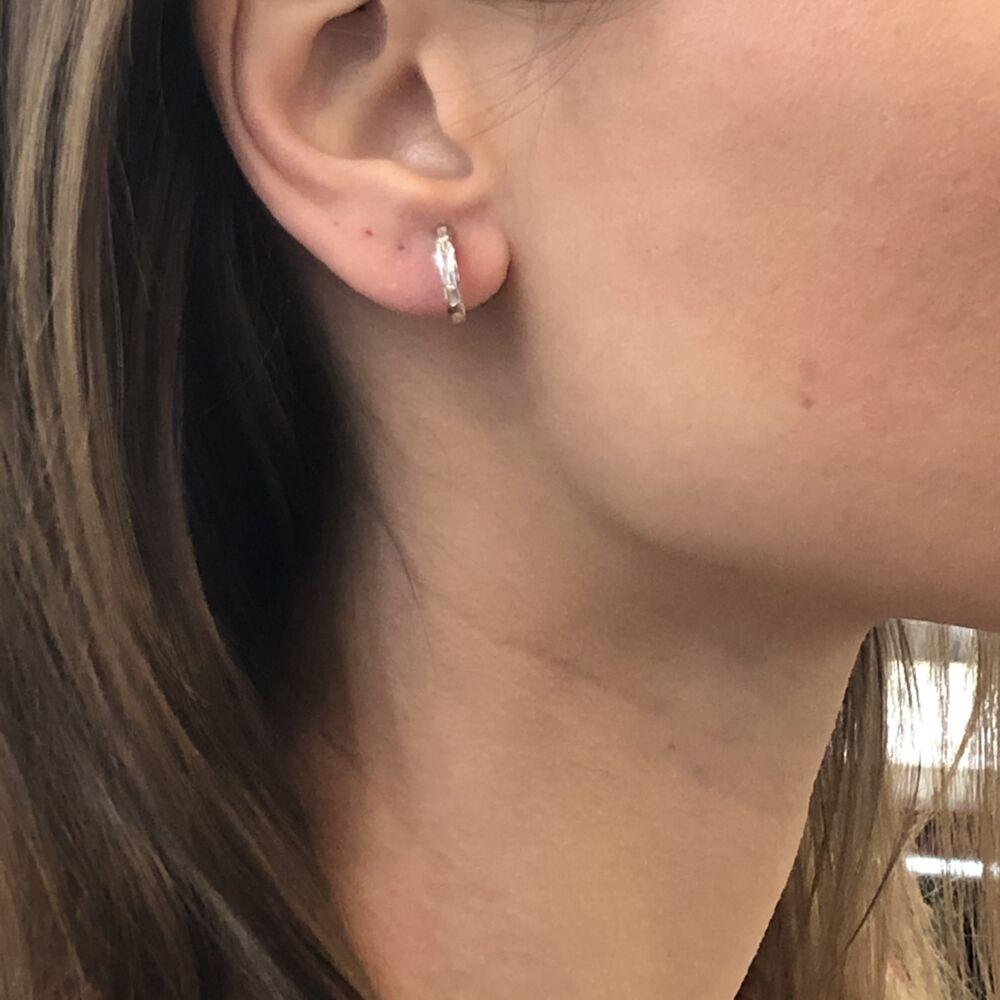 Image 2 for Channel Set Step Cut Huggie Hoop Earrings
