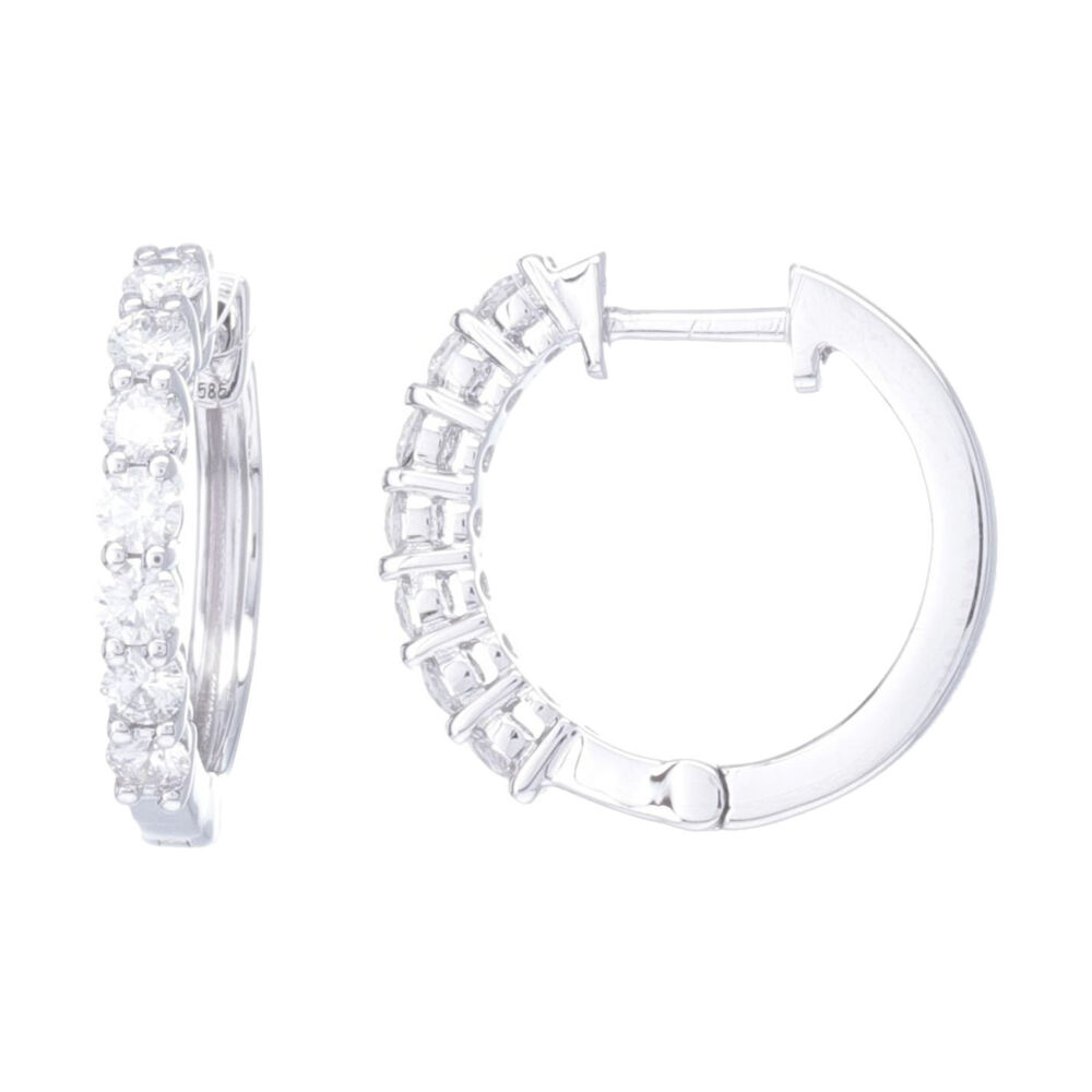 Prong Set Brilliant Cut Diamond Huggie Hoop Earrings