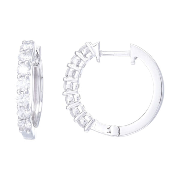 Closeup photo of Prong Set Brilliant Cut Diamond Huggie Hoop Earrings