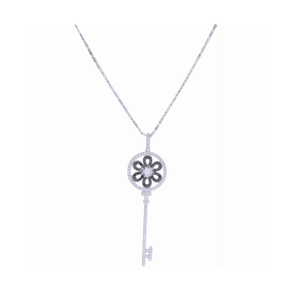 14K White Gold Black and White Diamond Key Necklace