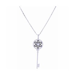 Closeup photo of 14K White Gold Black and White Diamond Key Necklace