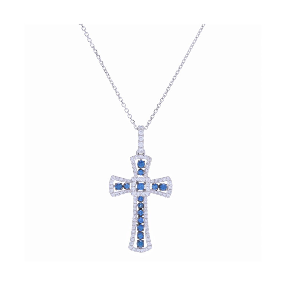 14k White Gold Sapphire and Diamond Cross Necklace
