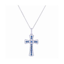 Closeup photo of 14k White Gold Sapphire and Diamond Cross Necklace