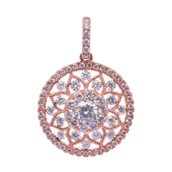Closeup photo of 14k Rose Gold Prong Set Round Diamond Pendant