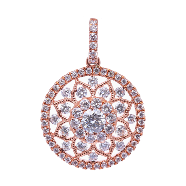 Closeup photo of 14k Rose Gold Prong Set Round Diamond Pendant