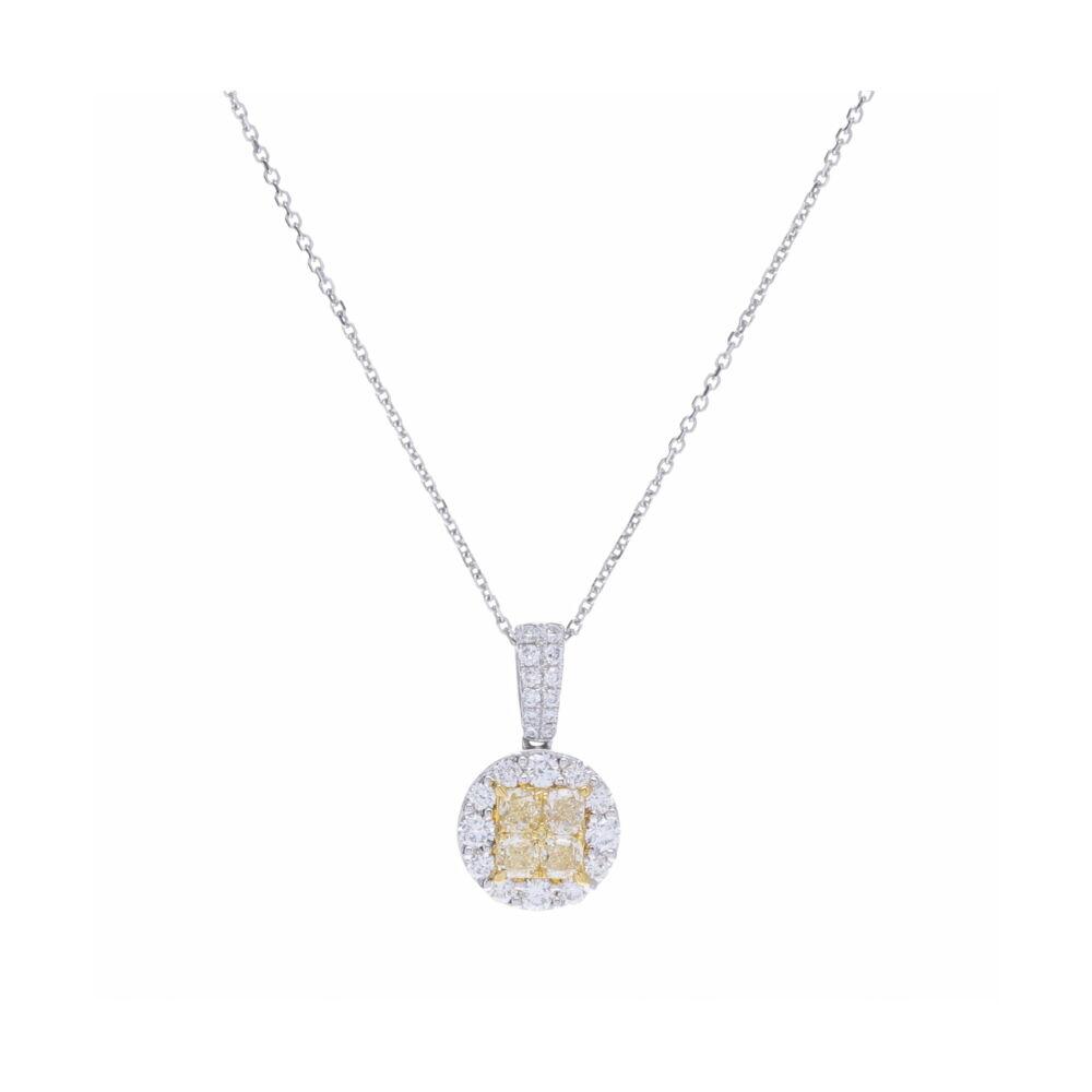 Custer Set White & Yellow Diamond Pendant Necklace
