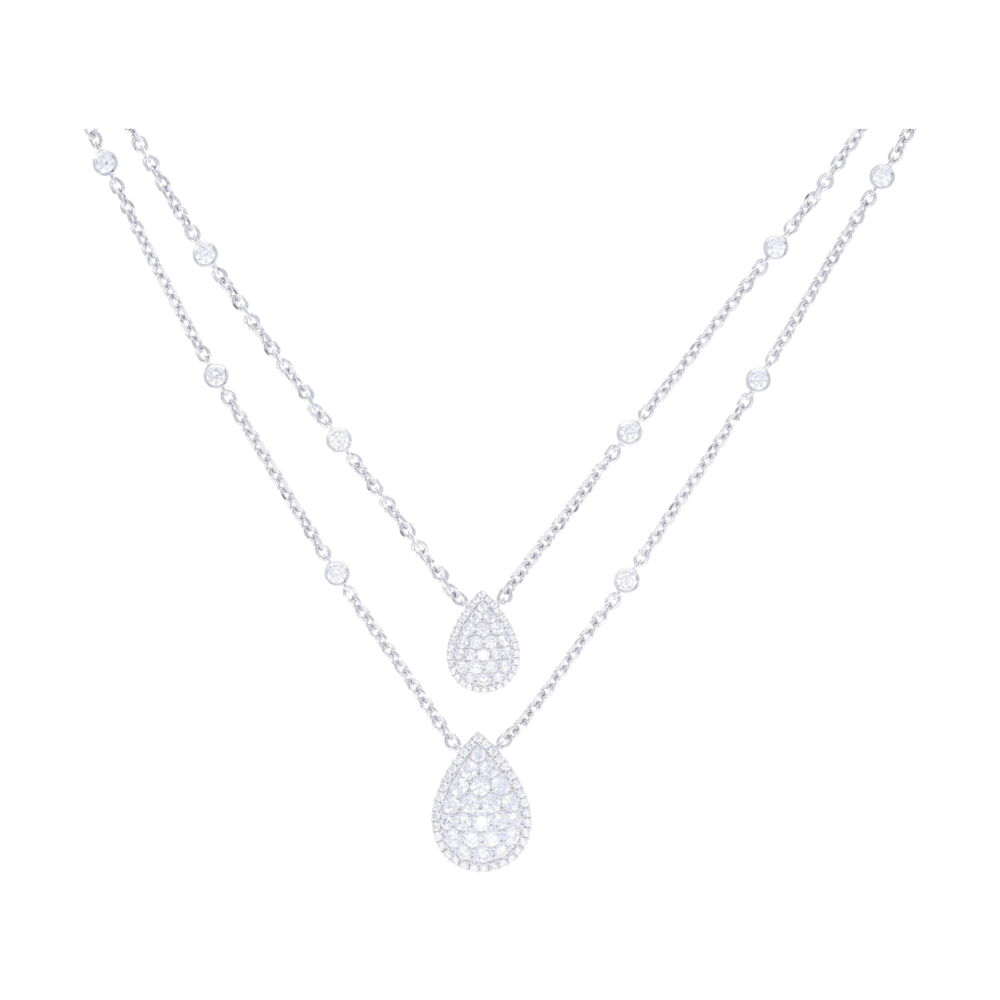 14k White Gold Split Round Diamond Chain Necklace