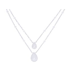 Closeup photo of 14k White Gold Split Round Diamond Chain Necklace