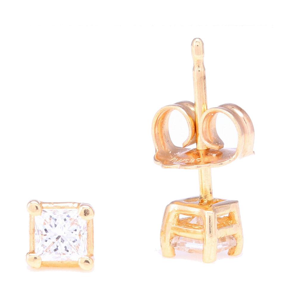Image 2 for Princess Cut Diamond Prong Set Studs