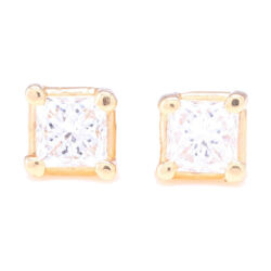Closeup photo of Princess Cut Diamond Prong Set Studs