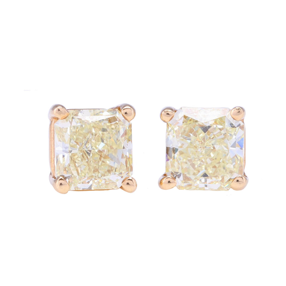 Princess Cut Yellow Diamond Studs 1.56 tcw
