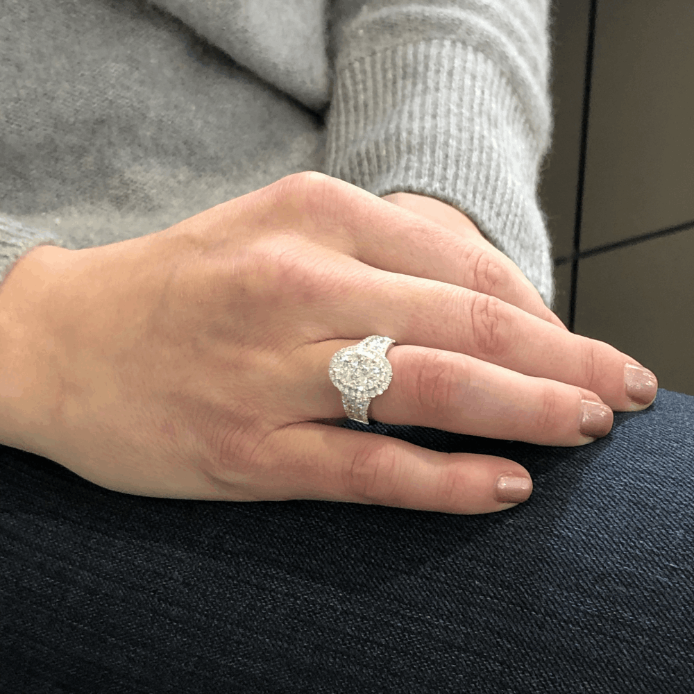 Image 2 for 14k White Gold Oval Shaped Cluster Set Brilliant Cut Diamond Ring