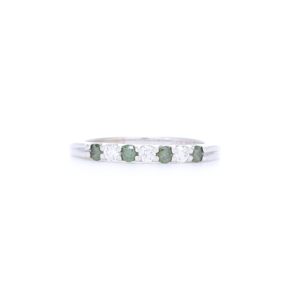 14k White Gold Prong Set Green and White Round Diamond Ring