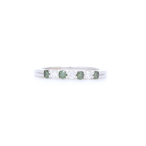 Closeup photo of 14k White Gold Prong Set Green and White Round Diamond Ring