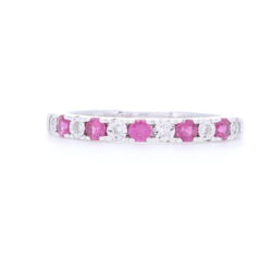 Closeup photo of 14k White Gold 1/2 Ruby and Diamond Prong Set Stack Ring