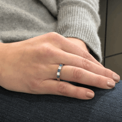 Closeup photo of 14k White Gold Round Diamond and Sapphire Stack Ring Band