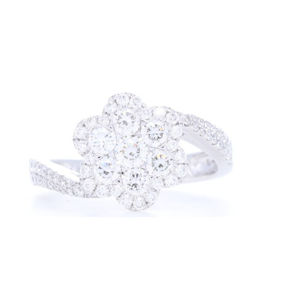 Closeup photo of 14k White Gold Twist Round Diamond Flower Diamond Ring