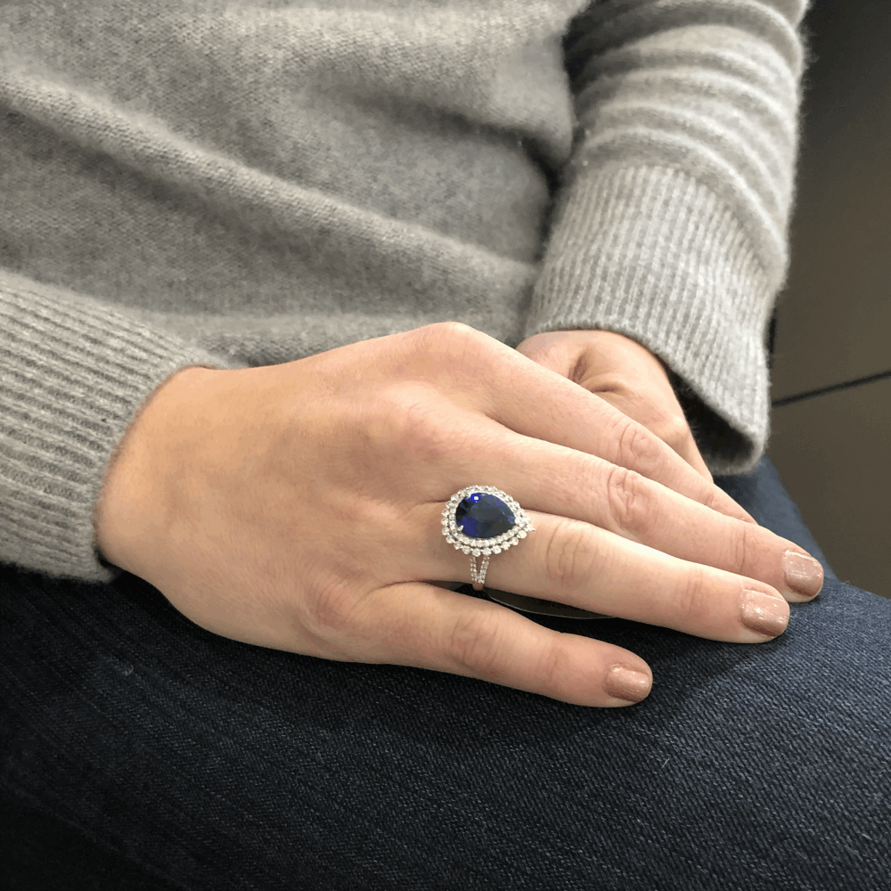 Image 2 for 14k Halo Brilliant Cut Diamonds Around Diffused Pear Shaped Sapphire Ring