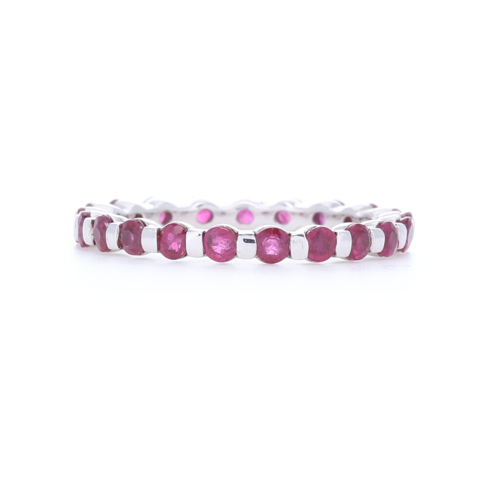 14k White Gold Bar Set Round Ruby Eternity Band