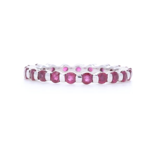 Closeup photo of 14k White Gold Bar Set Round Ruby Eternity Band