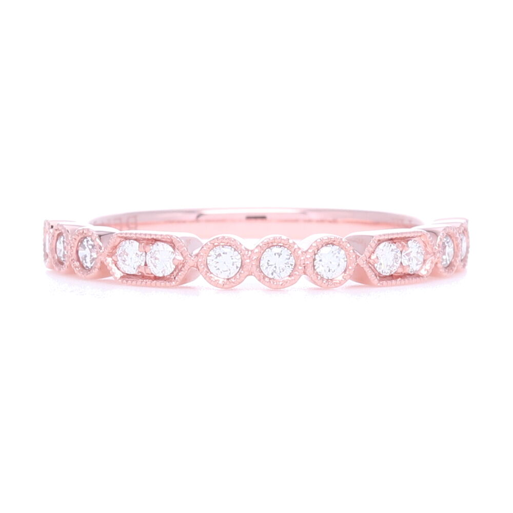 Prong and Bezel Set Diamond Stack Ring set in 18k Rose Gold