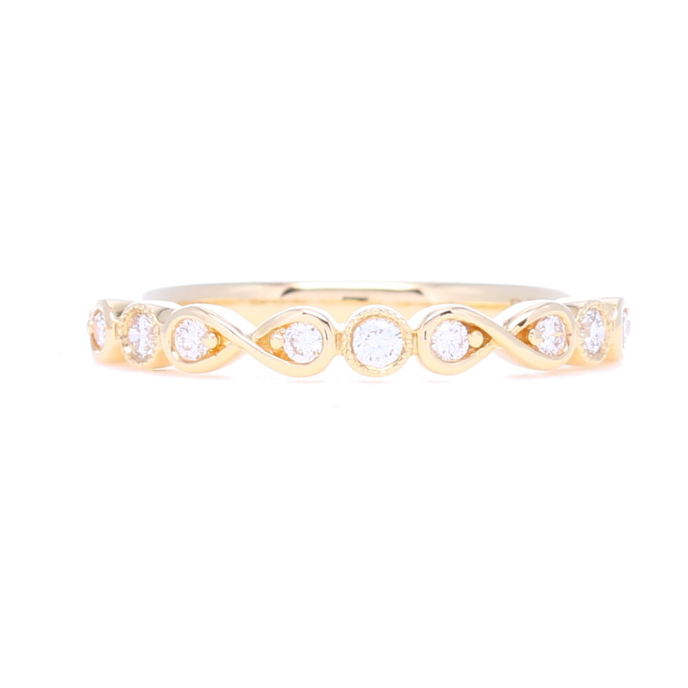 Prong Round & Bezel Set Diamond Stack Ring
