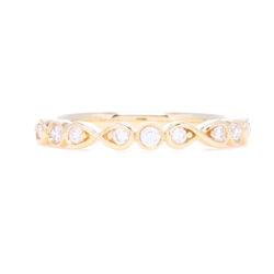 Closeup photo of Prong Round & Bezel Set Diamond Stack Ring