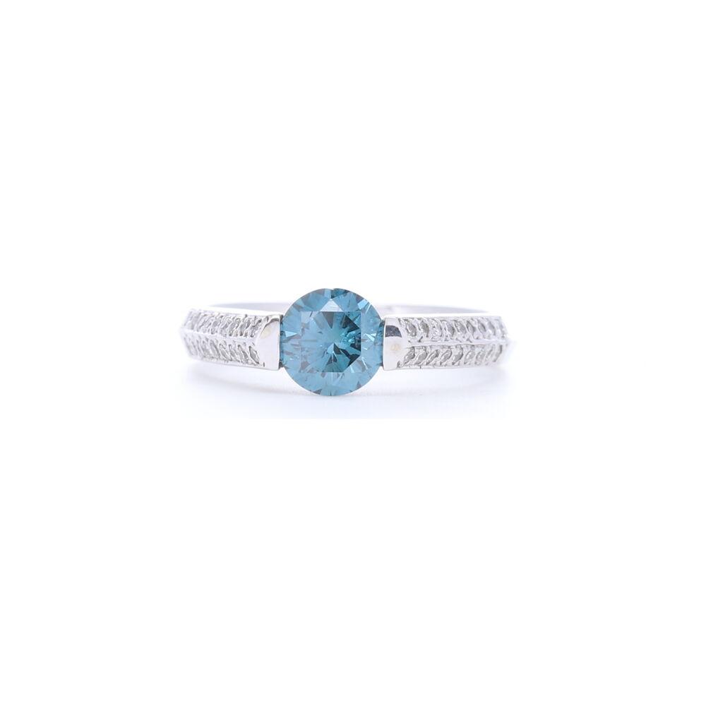 2 Row Prong Set Diamonds with Round Blue Diamond Center