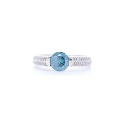 Closeup photo of 2 Row Prong Set Diamonds with Round Blue Diamond Center
