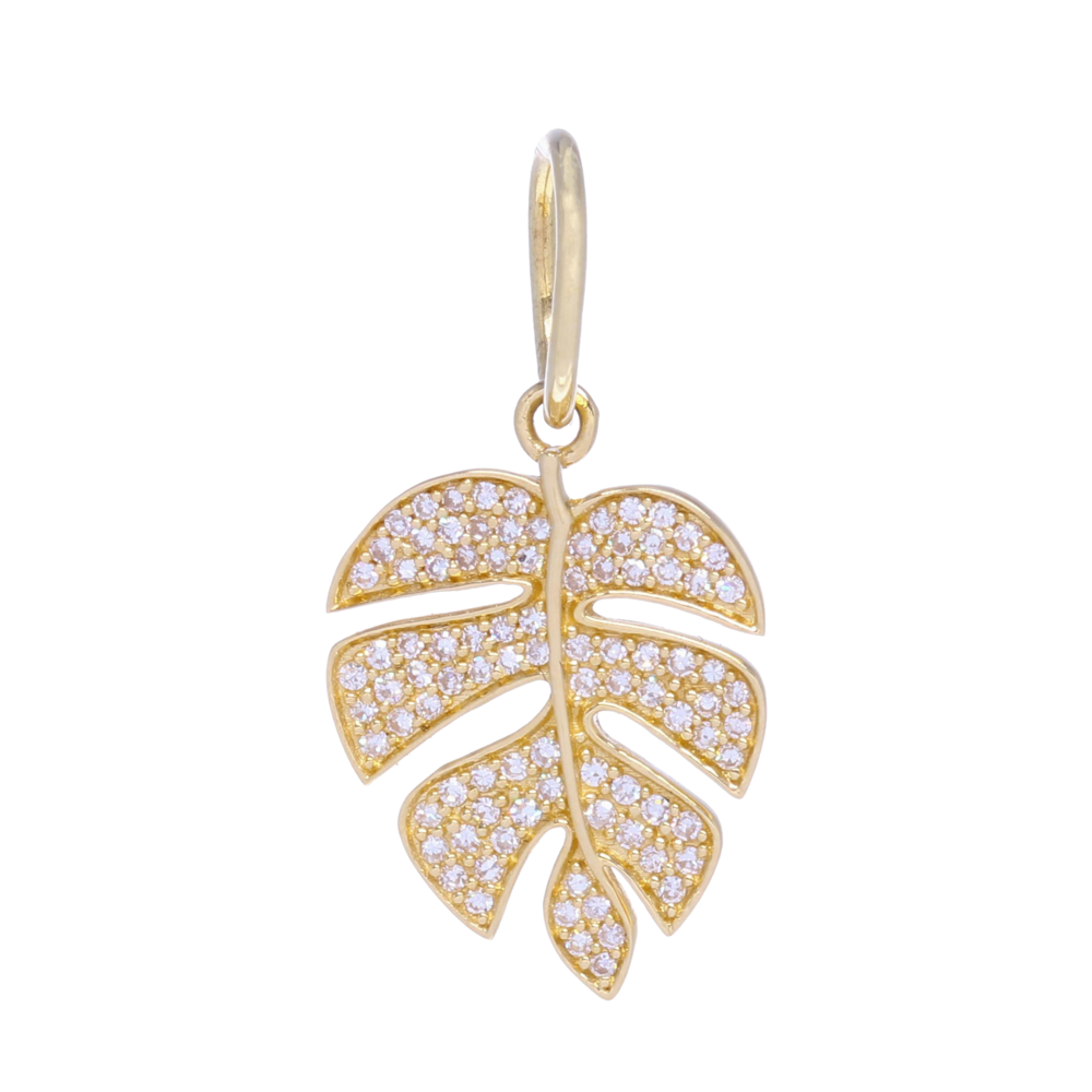Yellow Gold Diamond Palm Leaf Charm Pendant
