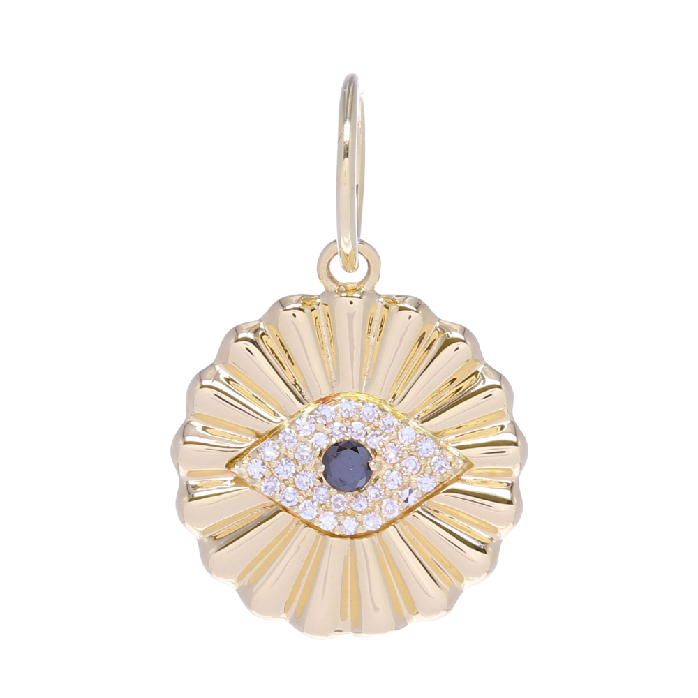 Yellow Gold All Seeing Eye Pendant with Diamonds