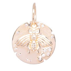 Closeup photo of 14k Yellow Gold Small Bee Medallion Pendant with Diamonds