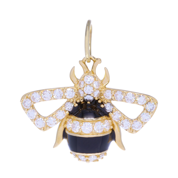 Closeup photo of Large Bee Pendant With Black Enamel 1.04ct Diamonds 3.7g 14k Gold