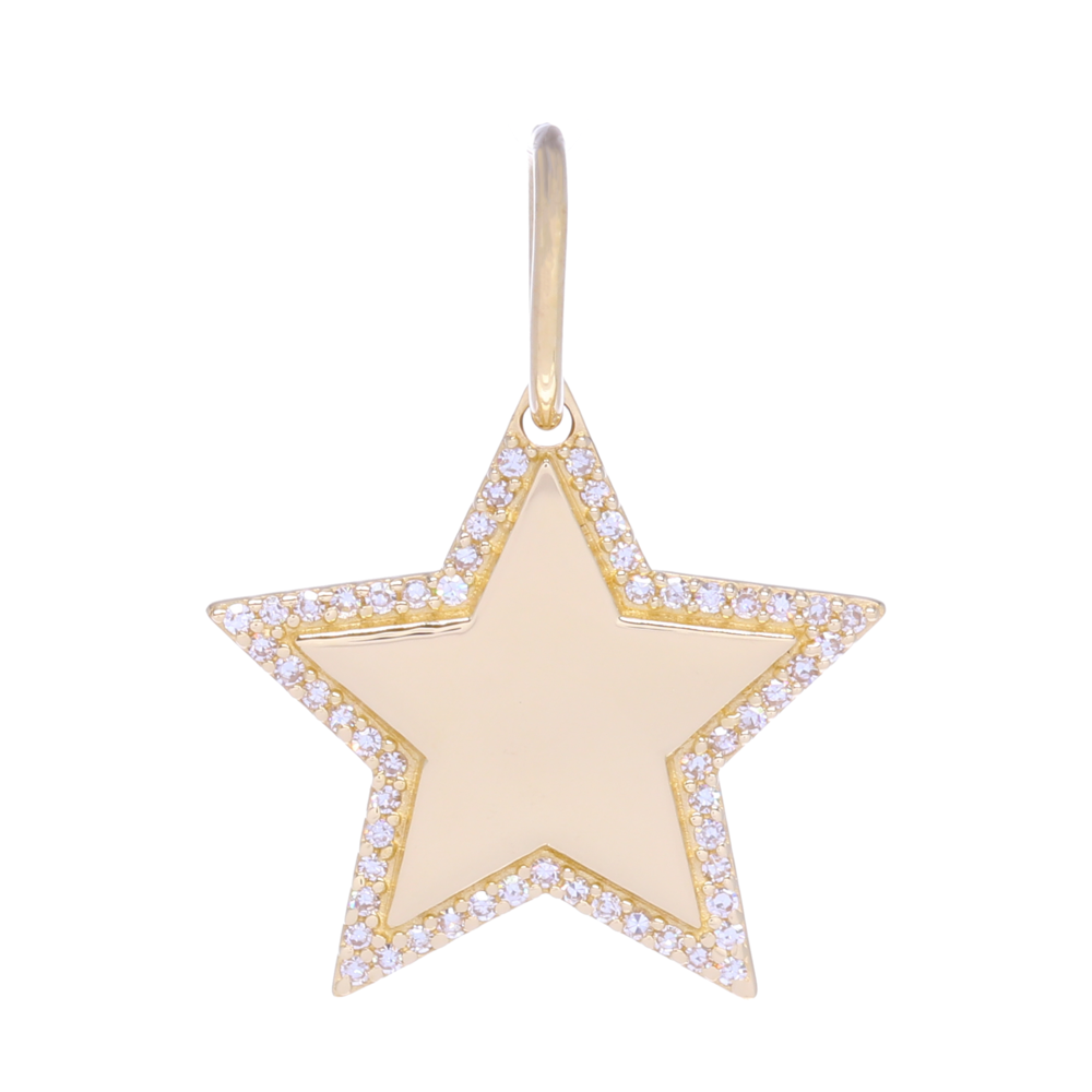 Gold and Diamond Star Charm Pendant with Diamonds