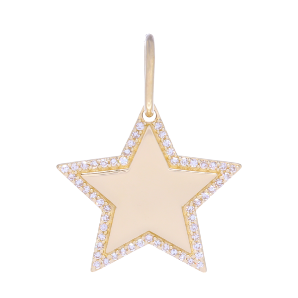 Closeup photo of Gold and Diamond Star Charm Pendant with Diamonds