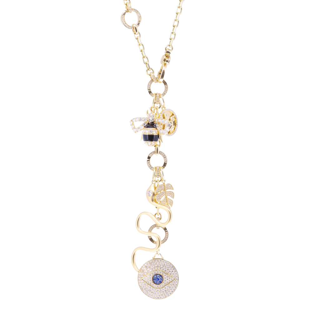 Image 2 for Gold Snake Pendant with Diamond Eye