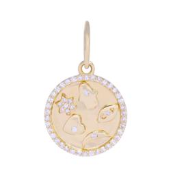 Closeup photo of Small Gold and Diamond 5 Symbol Medallion Pendant
