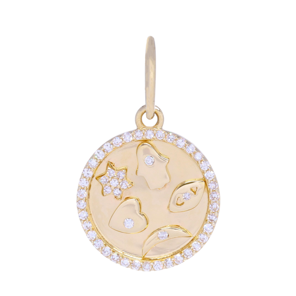 Closeup photo of Small Gold and Diamond 5 Symbol Medallion Pendant
