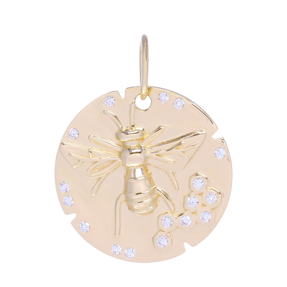 Large Gold Bee Medallion Pendant with Diamonds