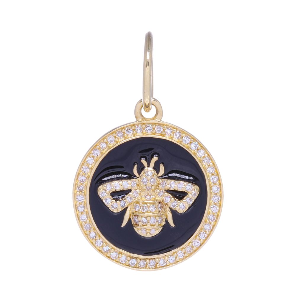 Small 14k Gold and Diamond and Enamel Bee Medallion