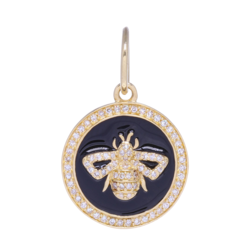 Closeup photo of Small 14k Gold and Diamond and Enamel Bee Medallion