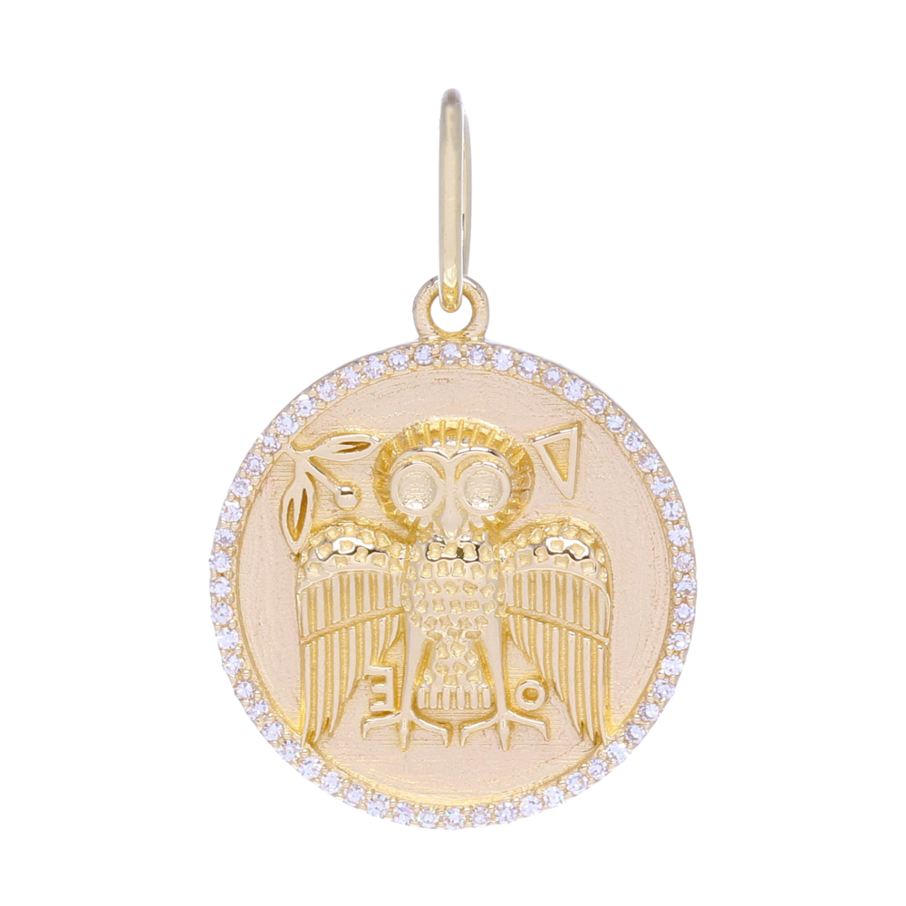Gold Owl Medallion Pendant with Diamonds