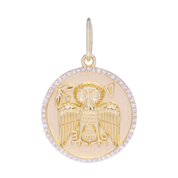 Closeup photo of Gold Owl Medallion Pendant with Diamonds