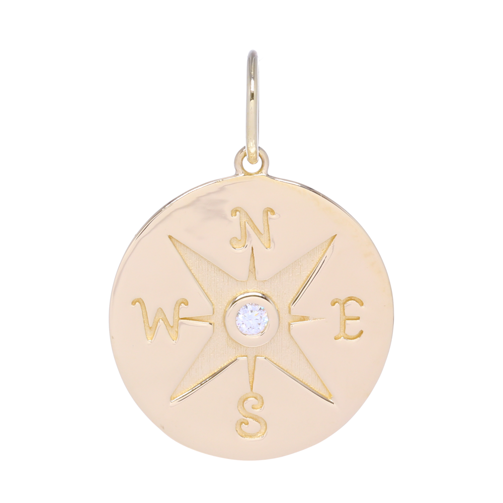 Gold Compass Medallion Pendant with Diamonds