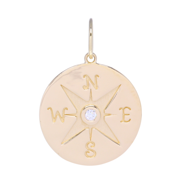 Closeup photo of Gold Compass Medallion Pendant with Diamonds