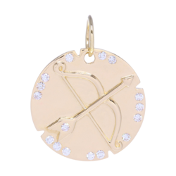 Closeup photo of Gold Bow and Arrow Pendant with Diamons