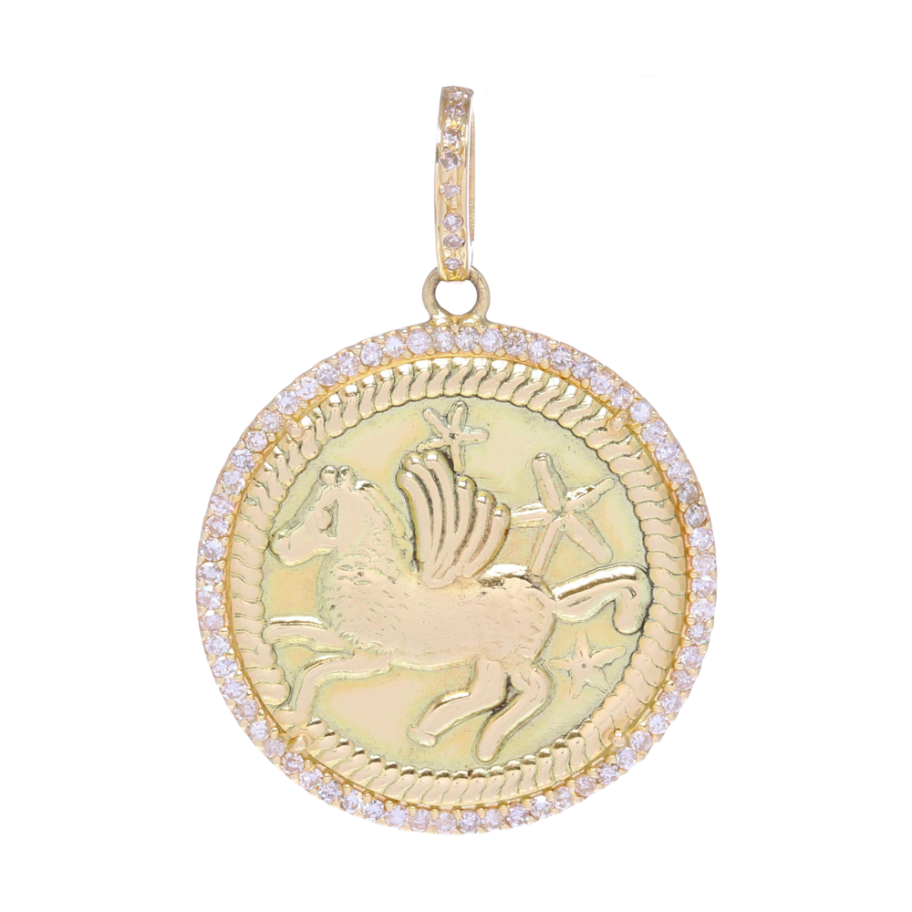 Gold Pegasus & Stars Medallion Pendant with Diamonds