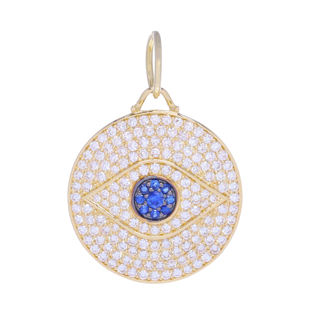 Large 14k Gold and Pave Diamonds All Seeing Eye Pendant