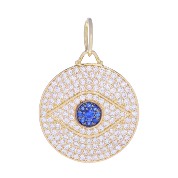 Closeup photo of Large 14k Gold and Pave Diamonds All Seeing Eye Pendant