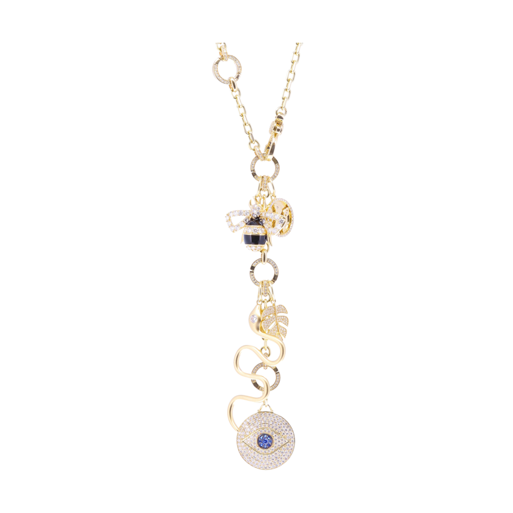 Image 2 for Large 14k Gold and Pave Diamonds All Seeing Eye Pendant